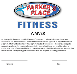 A thumbnail of the Parker's Place Fitness Waiver link.
